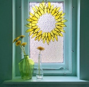 Golden yellow Stained glass wreath with dandelions