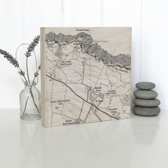 Personalised map printed on Birch ply