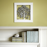 Woodcut Tree Wall Art In White