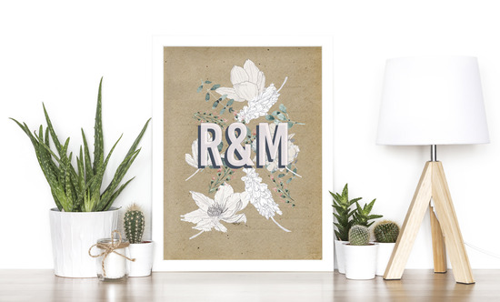 Personalised Floral Couple Print