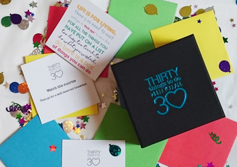 The perfect 30th birthday gift. 30 activities in sealed envelopes to make memories and create adventures