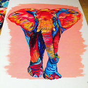colourful multicoloured acrylic elephant painting