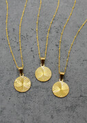 Gold filled circle pendant necklace