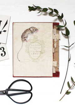 Dormouse on antique book cover