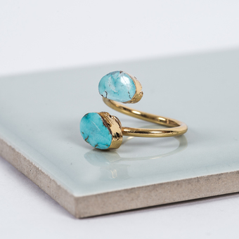 Turquoise Druzy Quartz Double Gold Ring