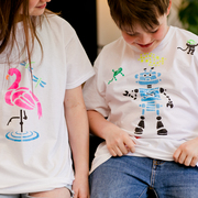 Children with their hand printed t-shirts