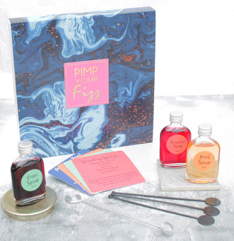 Pimp your Fizz is a fantastic gift for the Fizz lover, containing syrups and recipe cards to make cocktails.