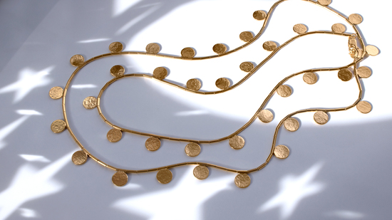 Paillette Disc and Bead Necklace