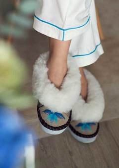 Sen turquoise sheepskin slippers