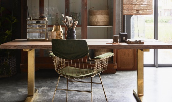 Olive velvet and wire chair