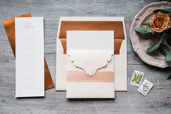 blush and copper invitations
