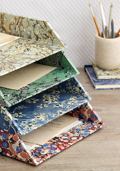 Marbled letter trays.