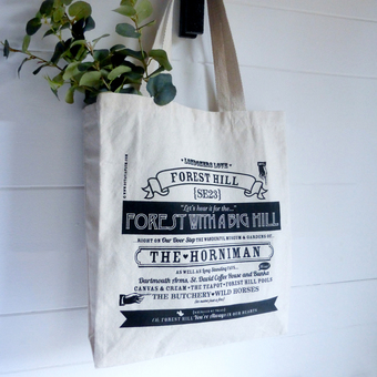 Forest Hill bag, Forest Hill location print, Forest Hill tote bag, shopper, grocerie bag, Forest Hill location