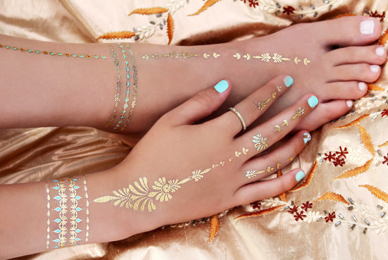 Festival Beach temporary metallic tattoos