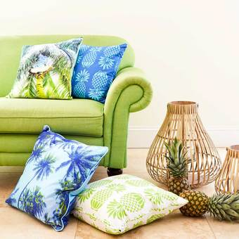 Tropical, vibrant prints on luxury cotton cushions by Penelope Hope