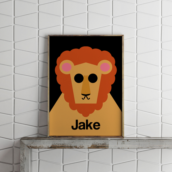 Personalised Retro Lion Print