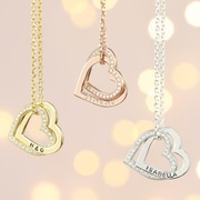 Lisa Angel Ladies' Personalised Sterling Silver Crystal Hearts Necklace