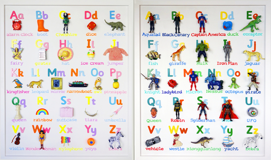 Alphabet for a little girl who's favourite colour is pink and Alphabet for a little boy who is obsessed with super heros!
