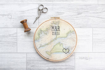Embroidered cotton vintage map modern font