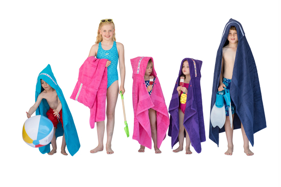 Large hooded bath and swimming towels for toddlers to teens