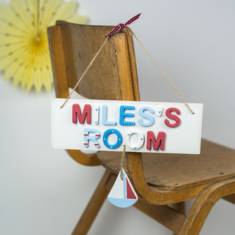Personalised wooden room plaque