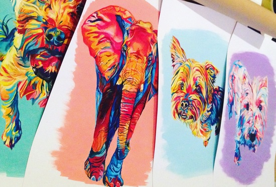 bright colourful custom acrylic paintings