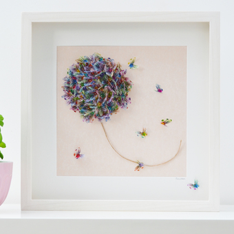 Memories butterfly art is created from numerous multicoloured butterflies designed for this limited edition artwork