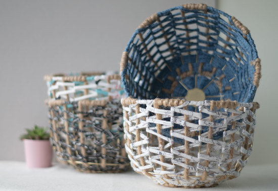 Handwoven Artisan Wire metal Basket
