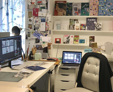 Artist Stacey's workspace