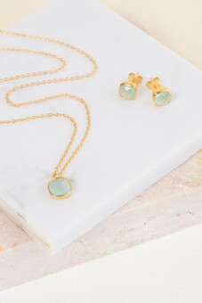 Aqua Chalcedony Necklace and Earrings