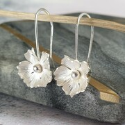 Handmade silver flower drop earrings