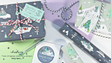 Christmas wrapping paper and personalised cards