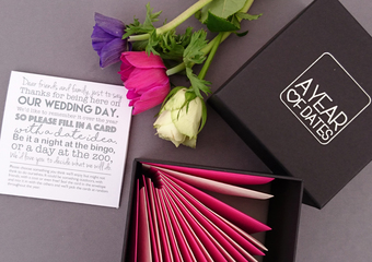 A Year of Dates Alternative Wedding Guest Book. Blank cards for your wedding guests to fill in with a message and date idea. Various envelope colours available