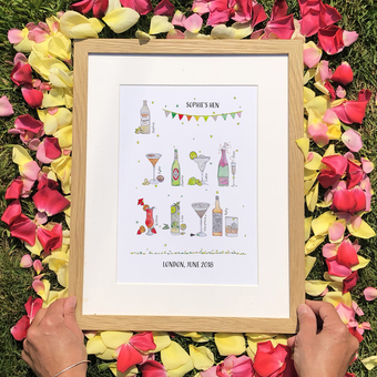 hen do drinks personalised print beer cocktail prosecco champagne gin and tonic