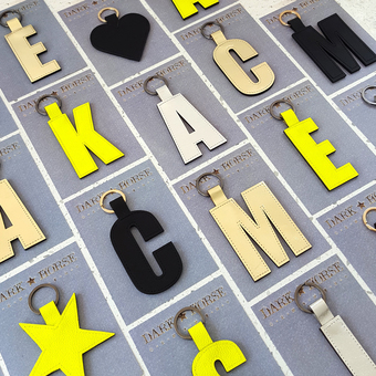 bestselling leather alphabet keyfobs