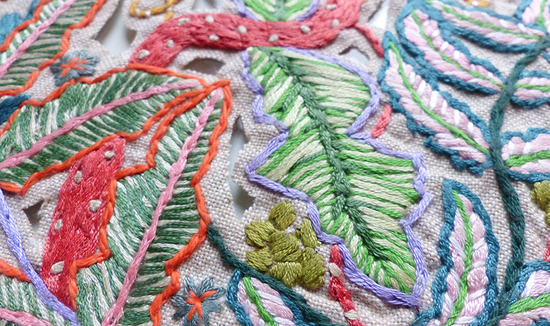 Botanical embroidery interior artwork