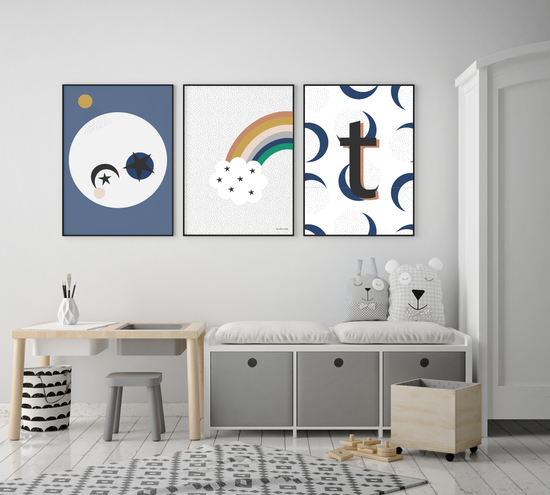 set of three nursery prints
