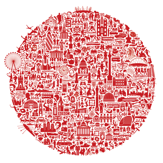Typographic London map print