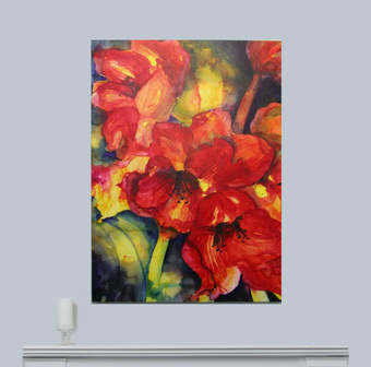 Limited Edition Red Floral Canvas Print