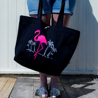 Flamingo Print Canvas Beach Bag