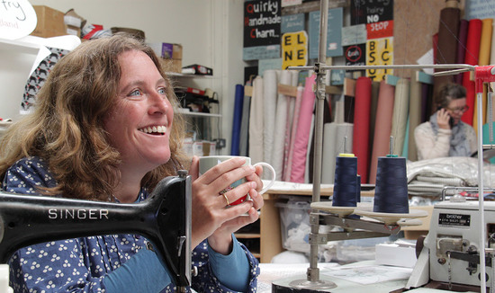 Poppy Treffry textile designer and maker with singer sewing machine