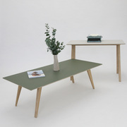 Lino and Birch Plywood Coffee table and Desk in Olive and Mushroom, Bespoke and Made to measure