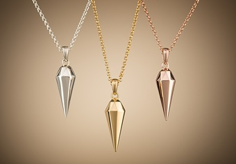 Faceted teardrop necklace, urban glamour.