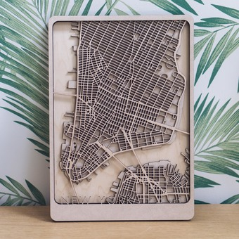 New York Multi Layer Wood Map