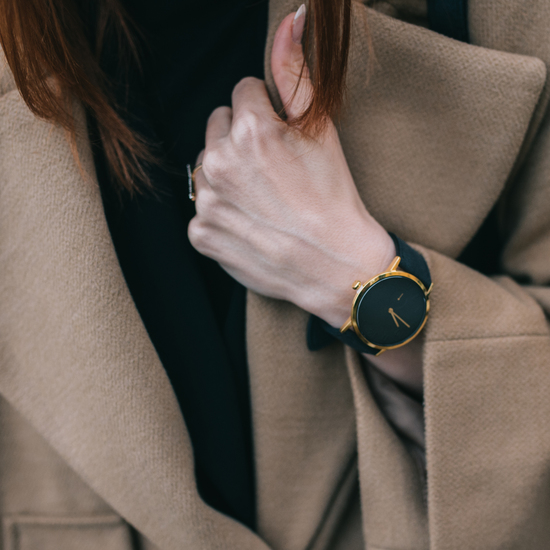 Gold Watch with Alcantara Strap