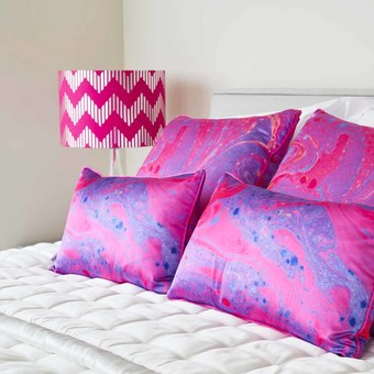 Magenta Marble Luxury Silk Cushions by Penelope Hope