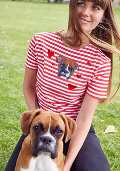 Personalised pet embroidered red and white stripy tee