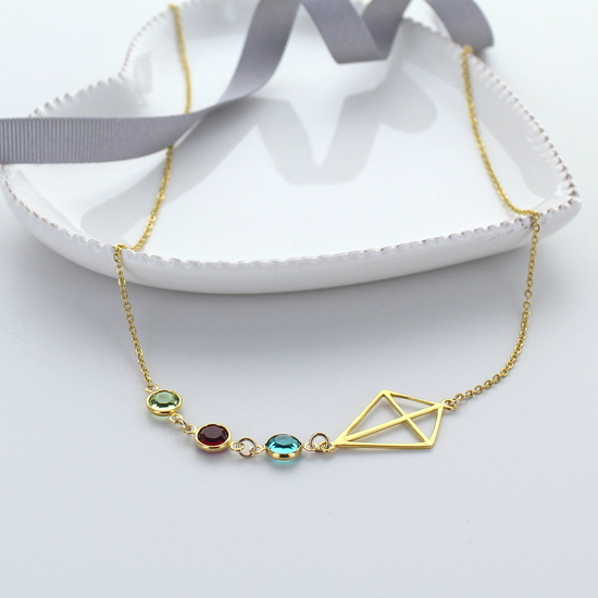 Gold Origami Kite Birthstone Necklace
