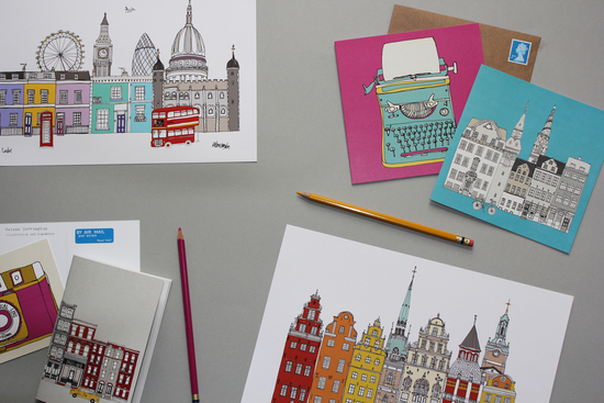 London and Stockholm colourful illustration print