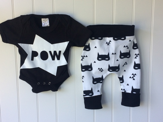 Batman inspired  100% cotton baby outfit